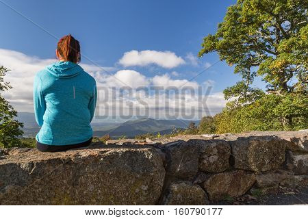 Woman takes a rest in the Shenandoah National Park
