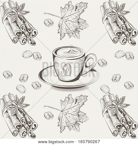 Coffee cup, Anise and cinnamon Vintage Engraved illustration. Vector hand drawn sketch. Autumn season flavor