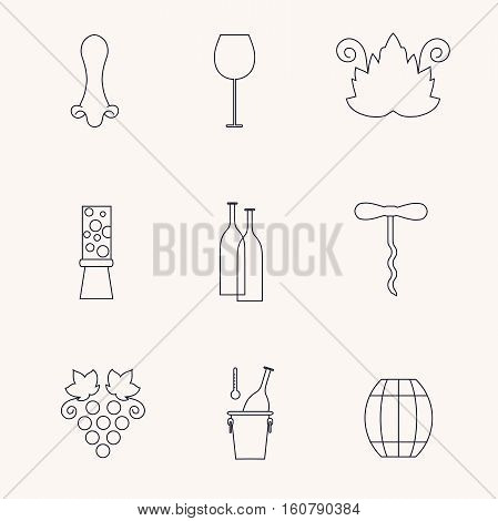 Set of line icons with different wine elements - bottle, grape, corckscrew, grape leaf, glass, barrel. Stock vector illustration line style icon series