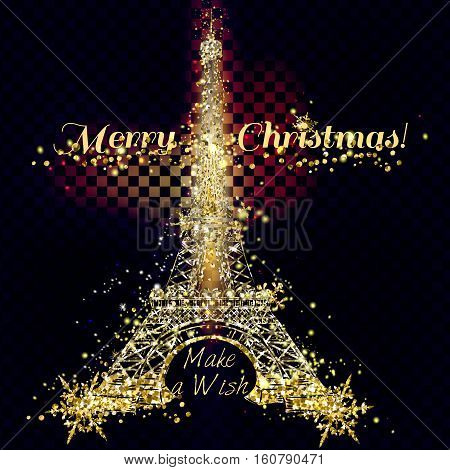Christmas vector golden and silver glitter particles card with Eifel tower effect for luxury greeting card. Star dust sparks in explosion on transparent background. Sparkling texture