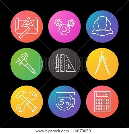 Engineering linear icons set. Drawing, gears, helmet, caliper, divider, hammer and wrench, measuring tape, calculator, pencil with rulers Smart watch UI style