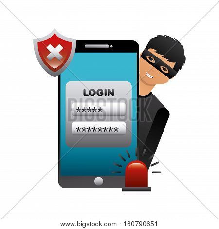 cartoon hacker man with smartphone device and wrong shield. cyber security concept. colorful design. vector illustration