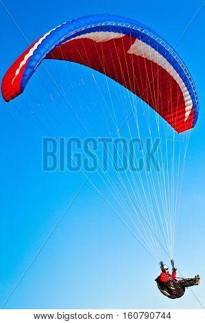 summertime sunset and paraglider flying at Zar Mountain Bielsko