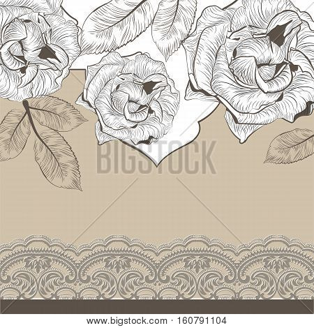 Vintage Roses and lace Invitation card. Vector engraved Garden flowers on crochet background. Festive cutout Postcard for weddings, ceremony, events. Hand drawn engraved technique