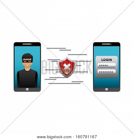 cartoon hacker man on smartphone device screen and wrong shield icon over white background. cyber security concept. colorful design. vector illustration