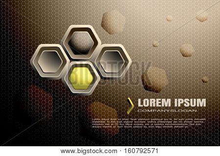 Vector abstract gradient brown mesh background with hexagon brown and yellow shapes.