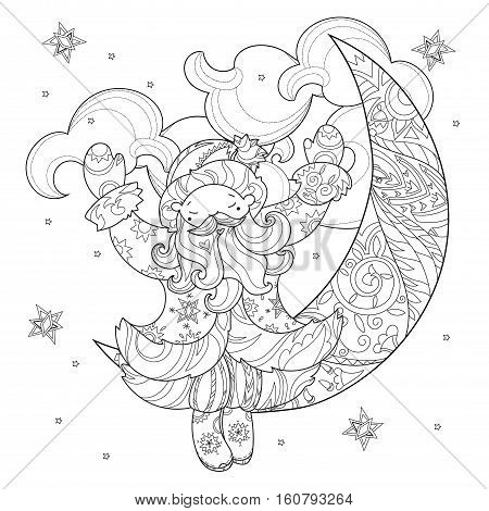 Vector cute christmas Santa Claus doodle and half moon.Hand drawn line illustration.Sketch for postcard or print or coloring anti stress adult relax book.Boho zen art style.