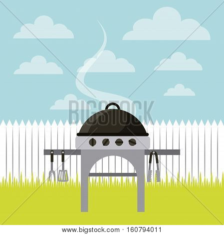 barbecue grill with utensils over landscape background. colorful design. vector illustration
