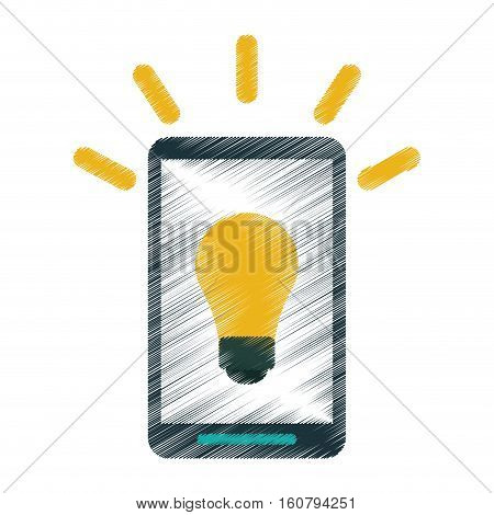 drawing smartphone bulb idea imagination vector illustration eps 10