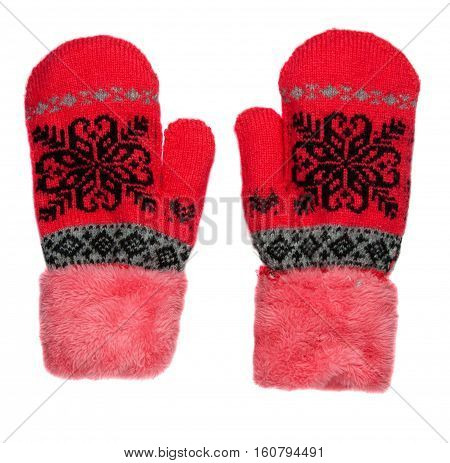 Mittens Isolated On White Background. Knitted Mittens. Mittens Top View. Red Mittens