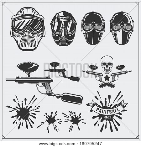 Set of paintball club labels, emblems, symbols, icons and design elements. Paintball equipment.