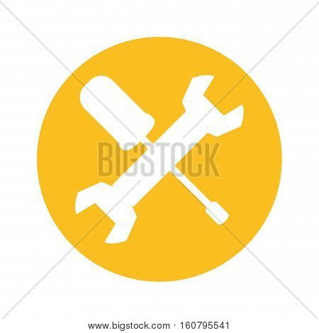wrench and screwdriver crossed icon inside yellow circle over white background. repair tools design. vector illustration
