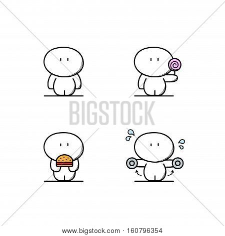 Cute fatty with candy and burger, plump man and sport or fitness. Fast or junk food, sweets, calories, lose weight and healthy lifestyle - cartoon vector illustration.