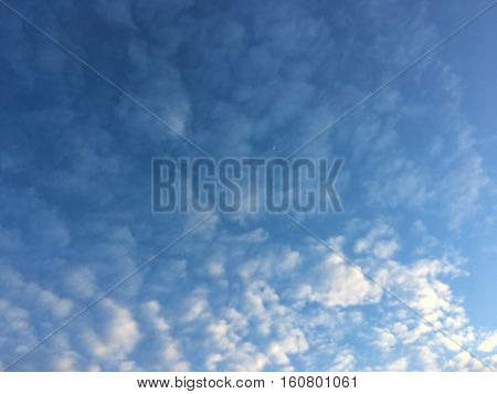 blue sky background with tiny clouds outdoor