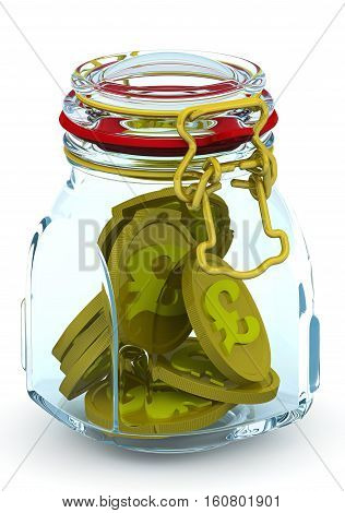 Piggy bank with coins of the British pound sterling. Glass Jar for canning with a coins of the British pound sterling on a white surface. Financial concept. Isolated. 3D Illustration