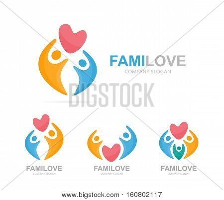Vector heart and people logo combination. Cardiology and family symbol or icon. Unique union, embrace, connect, team and community logotype design template.