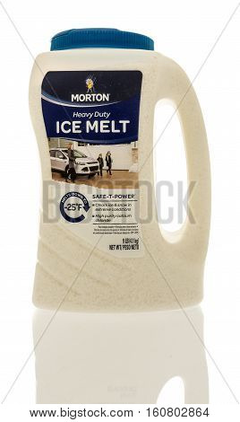 Winneconne WI - 7 December 2016: Container of Morton Ice melt salt on an isolated background.