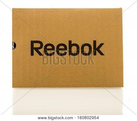 Winneconne WI - 8 December 2016: Box that contains Reebox shoe boots or clothing on an isolated background.