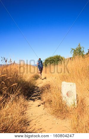RABANAL SPAIN - AUGUST 05: Pilgrim along the way of St. James on August 05 2016