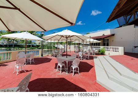 Cayo Coco island, Memories Carib resort, Cuba, June 26, 2016, nice amazing beautiful view of Memories Carib resort grounds, patio in front hotel lobby on sunny gorgeous day