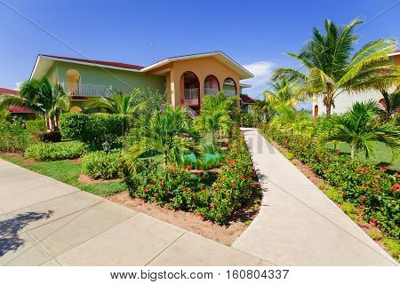 Cayo Coco island, Memories Carib resort, Cuba, June 26, 2016, nice amazing beautiful view of Memories Carib resort grounds, buildings and tropical garden on sunny gorgeous day