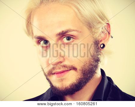 Attractive Blonde Man With Piercing