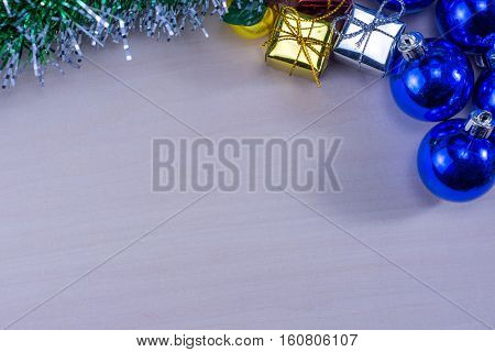 Chirstmas or new year decoration background on wood table