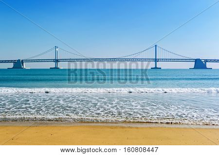 Gwangan Bridge And Haeundae In Busan,korea