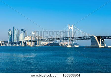 Gwangan bridge and Haeundae in Busan, South Korea