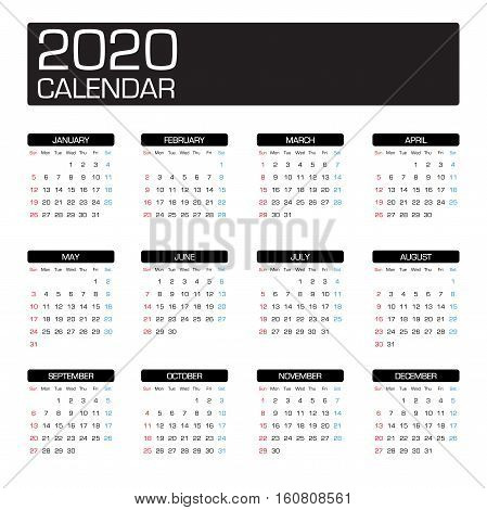a year calendar 2020 with all month template