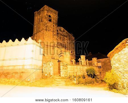 Nightview of the Santiago church in Barbadelo Spain