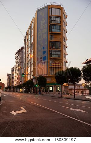 SANTANTER SPAIN - AUGUST 03: View of modern building at sunrise on August 03 2016