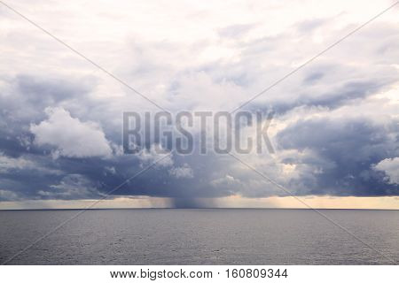 Blue sky with cloud and empty area for text. Nature concept for presentation background. Beautiful colorful sky with sunlight and concept fresh air for health. Healthy concept in fresh atmosphere.