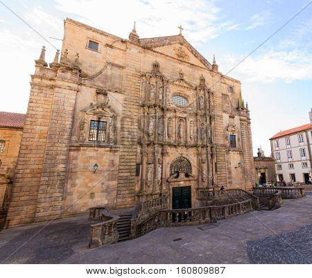 View of the Church of St. Martin Pinario in Santiago de Compostela