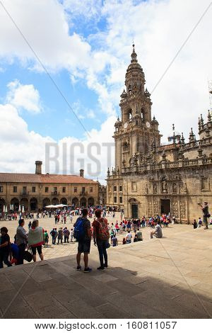 SANTIAGO SPAIN - AUGUST 16: View of the Santiago cathedral on August 16 2016