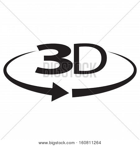 3D degree isolated on white background. 3d degree sign. icon 3D.