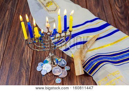 Hanukkah Holiday Menorah On Wooden Table Over Window Background