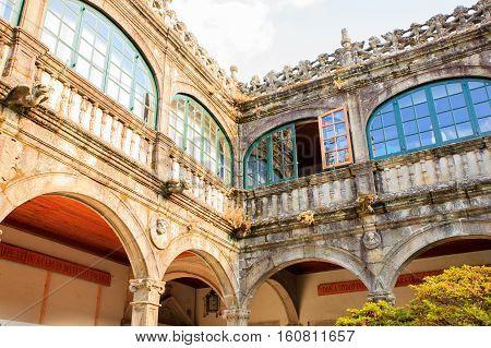 Inner court of Library of University of Santiago de Compostela