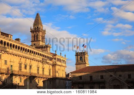 View of the belltower of the Santiago cathedral Spain