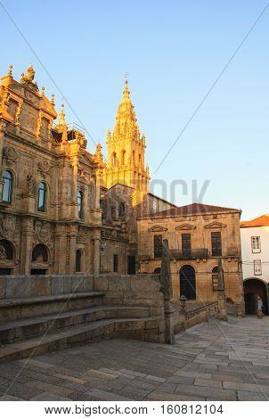 View of the cathedral of Santiago de Compostela Spain