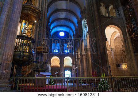 SANTIAGO SPAIN - AUGUST 17: Incense burner cathedral of Santiago de Compostela  on August 17 2016