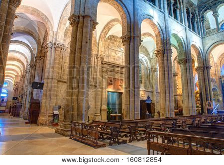 SANTIAGO SPAIN - AUGUST 17: Interior of the cathedral of Santiago de Compostela on August 17 2016