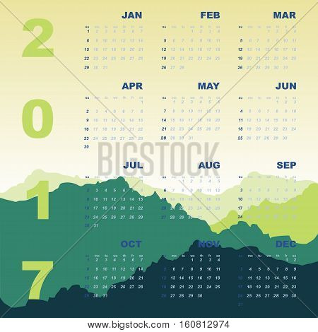 Green mountain view of 2017 calendar stock vector