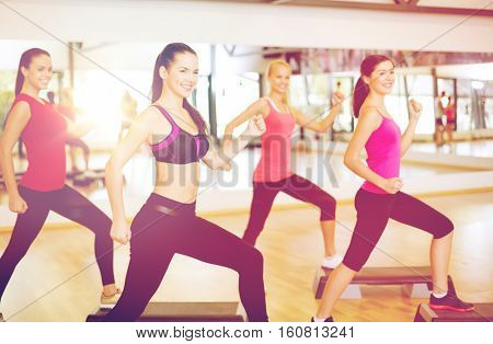 fitness, sport, training, gym and lifestyle concept - group of smiling people doing aerobic