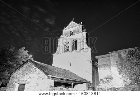 Night view of the Church of San Julian in Las Herrerias Vega de Valcarce Spain