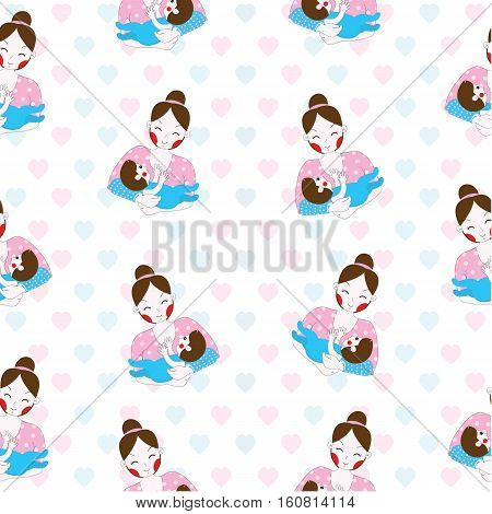 Seamless background of mother's day illustration with cute mom and baby on white background suitable for wallpaper, postcard, and scrap paper