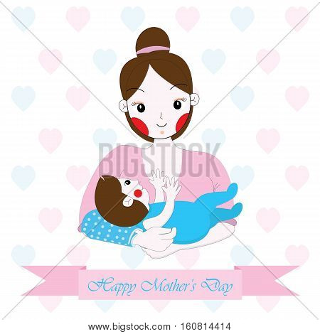 Mother's day illustration with cute mom and baby on hearts background suitable for Mother's day greeting card, postcard, and wallpaper
