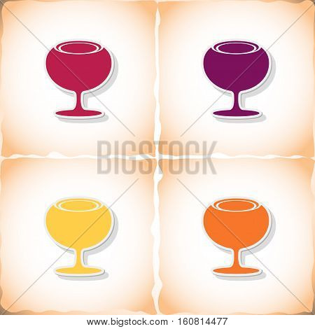Wineglass. Flat sticker with shadow on old paper. Vector illustration