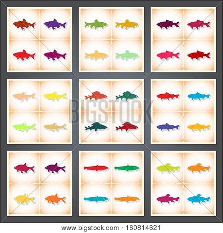 Freshwater fish. A set of flat stickers with shadow on old paper. Vector illustration