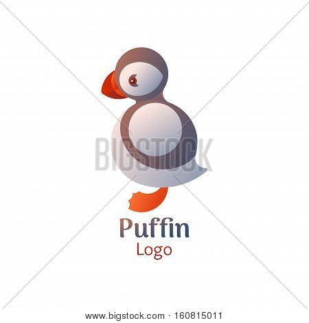 Puffin bird logo. Vector icon on white isolated background.